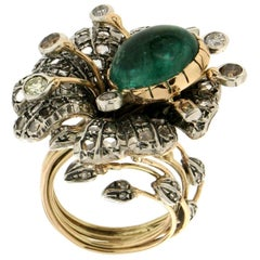 Cabochon Emerald Gold Diamonds Fashion Ring