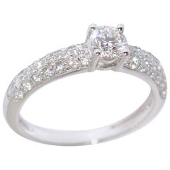 White Diamonds and White Gold Engagement Ring