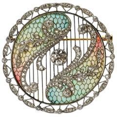 Edwardian Plique-a-Jour Diamond Platinum Gold Brooch Pendant