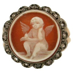 Antique Cameo Gold Diamonds Cocktail Ring