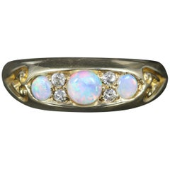 Antique Victorian Opal Diamond Ring Dated 1890
