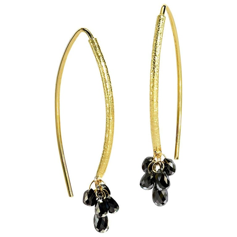 Barbara Heinrich Shimmering Faceted Black Diamond Gold Briolette Drop Earrings