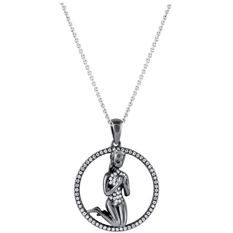 Virgo Zodiac Diamond Pendant Necklace