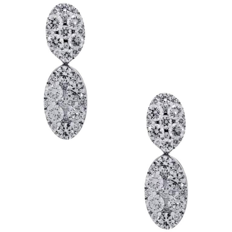 Round Brilliant Diamond Tear Drop Dangle Earrings