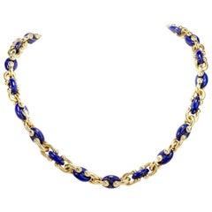 1960s Lapis Lazuli Italian 18 Karat Gold Link Necklace