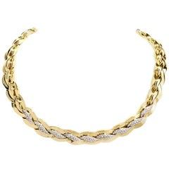 1980s Italian Braided Choker Gold Necklace Signed Leo Pizzo