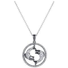 Pisces Zodiac Diamond Pendant Necklace