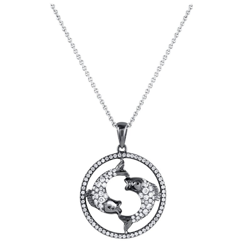 Pisces Zodiac Diamond Pendant Necklace For Sale