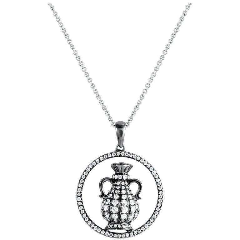 Aquarius Zodiac Diamond Pendant Necklace