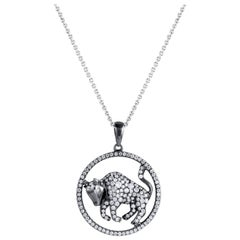 Taurus Zodiac Diamond Pendant Necklace