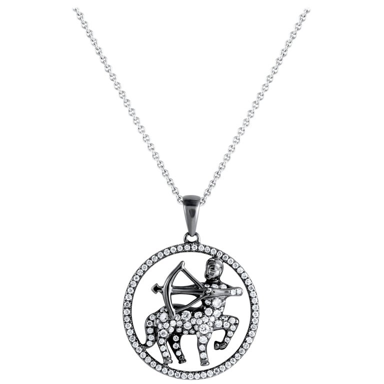 Sagittarius Zodiac Diamond Pendant Necklace For Sale