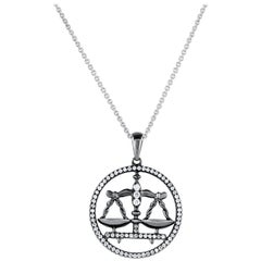 Libra Zodiac Diamond Pendant Necklace