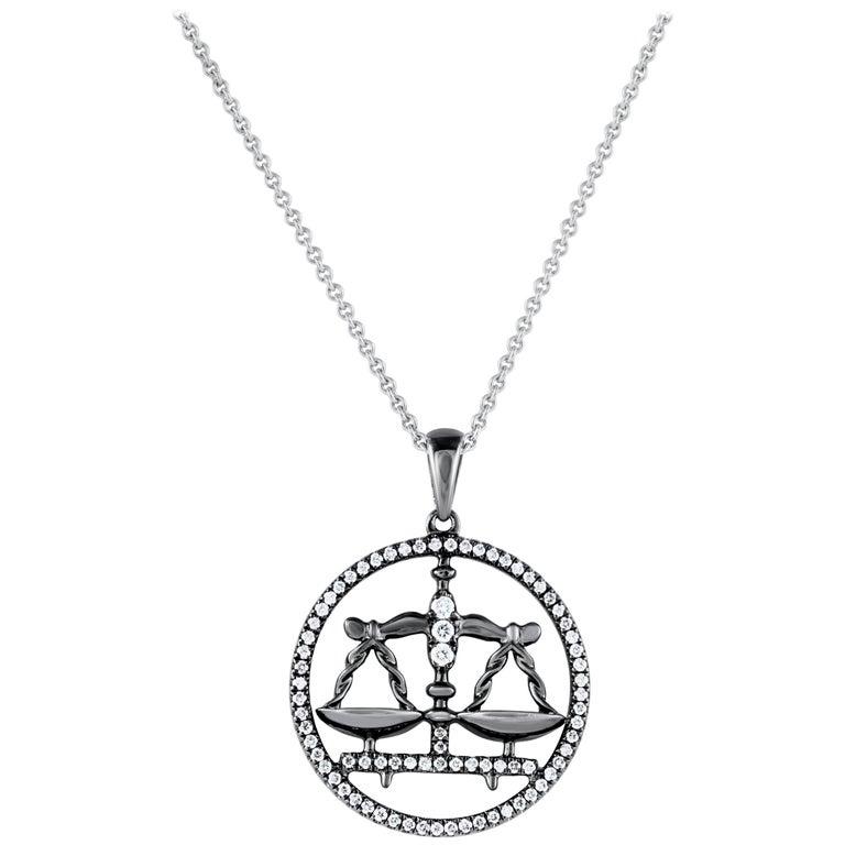 Libra Zodiac Diamond Pendant Necklace