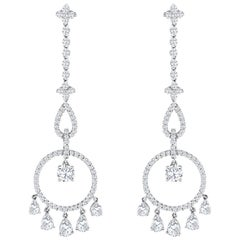 Diamond Open Work Chandelier Earrings