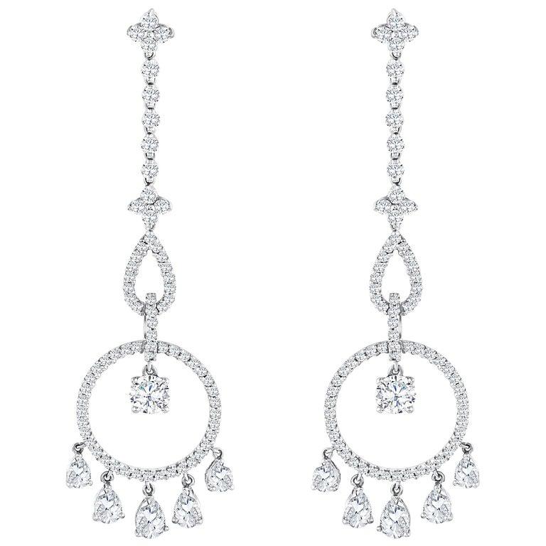 Diamond Open Work Chandelier Earrings