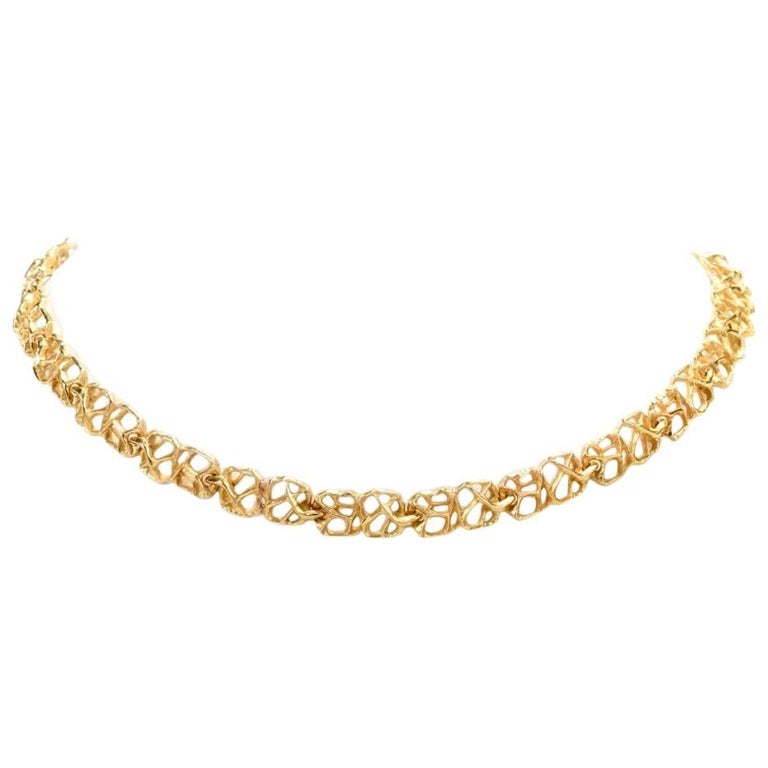 1970s Gubelin 18 Karat Matted Nugget Yellow Gold Necklace
