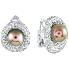 Roman Malakov, Tahitian Pearl and Pave Diamond Omega Clip Earrings