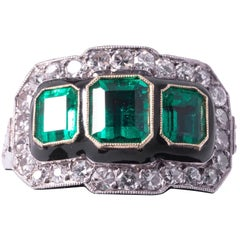 Three-Stone Emerald and Diamond Ring