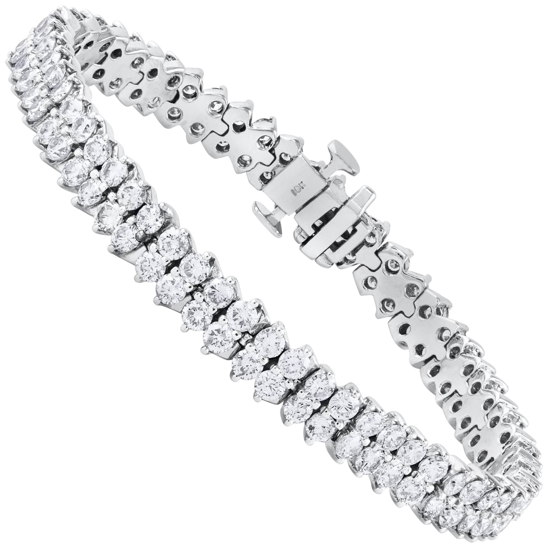 9.19 Carat Diamond Double Line Tennis Bracelet