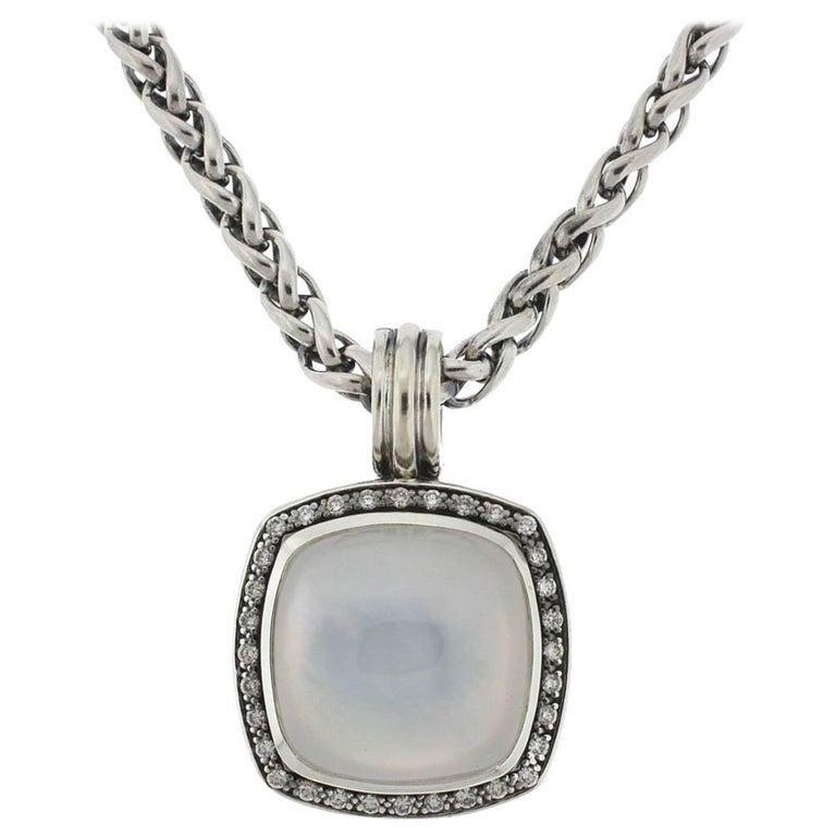 David Yurman Albion Moonstone and Diamonds Pendant Necklace