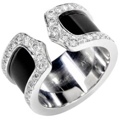 "Cartier ""Double C"" Diamond and 18 Karat White Gold Open Band Ring"