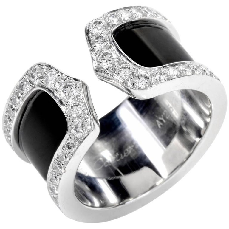 """Cartier """"Double C"""" Diamond and 18 Karat White Gold Open Band Ring"""