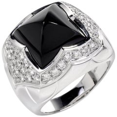 Bulgari Italy Onyx Diamond Pyramid Ring