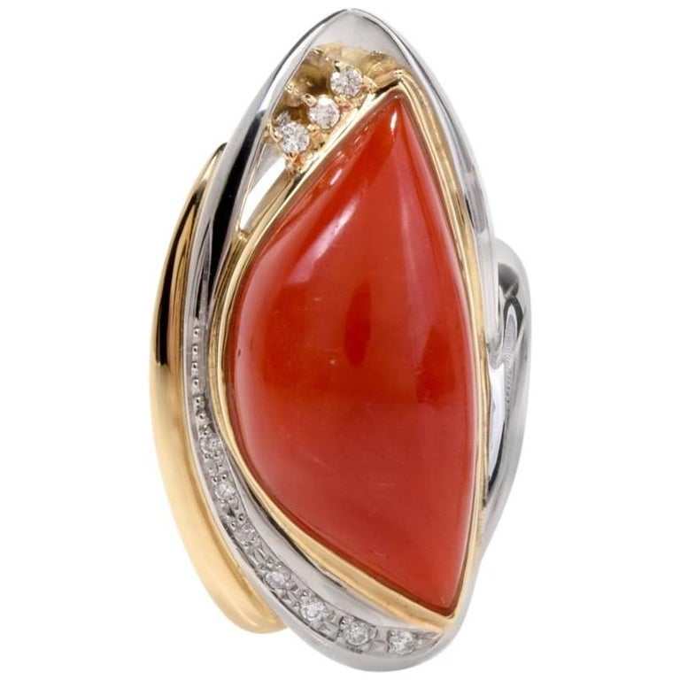 1980s Platinum 18 Karat Yellow Gold Red Coral Diamond Ring
