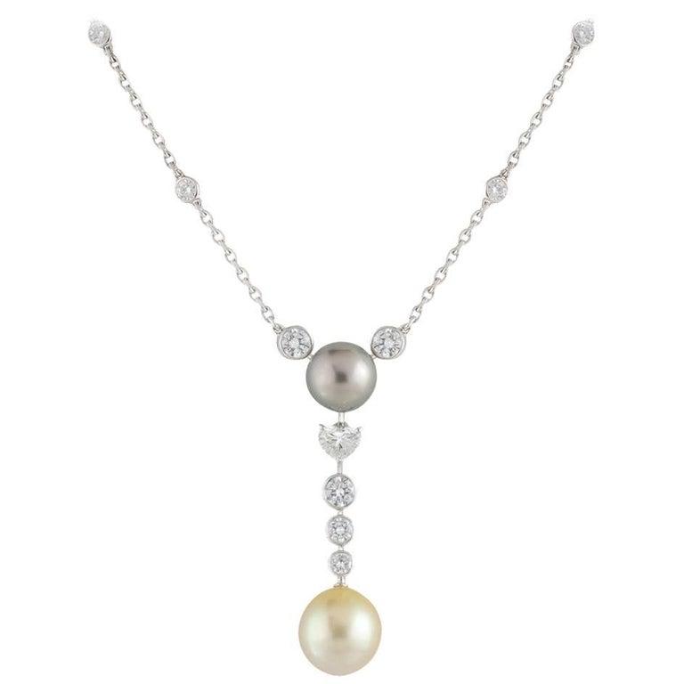 Cartier Diamond and Pearl Calin Necklace 2.61 Carat