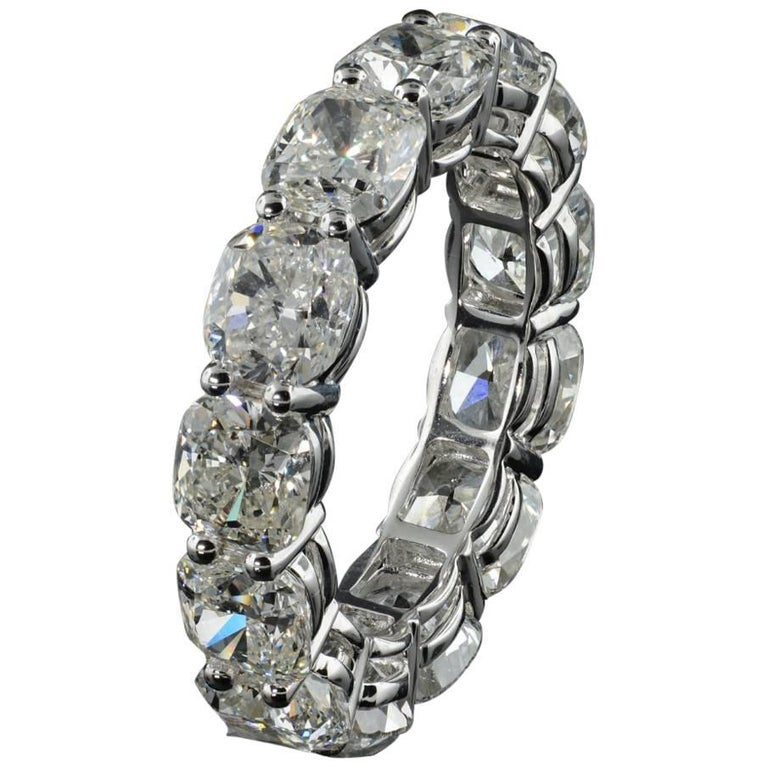 Eternity Diamond Wedding Band with Cushion Cut Diamonds 0.75 ct each, 9.56 total