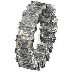 Eternity Diamond Wedding Band w/ Emerald Cut Diamonds 0.50 carats each, 9.00 ct.
