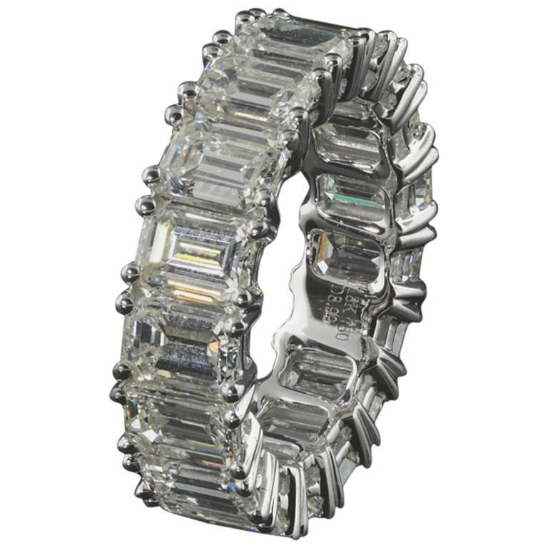 Eternity Diamond Wedding Band w/ Emerald Cut Diamonds 0.50 carats each, 9.00 ct.