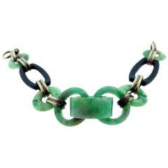 Art Deco Jade and Onyx Link Bracelet