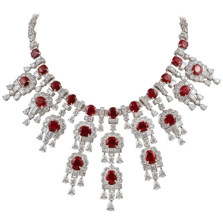 Harry Winston Diamond, Burma Ruby Necklace