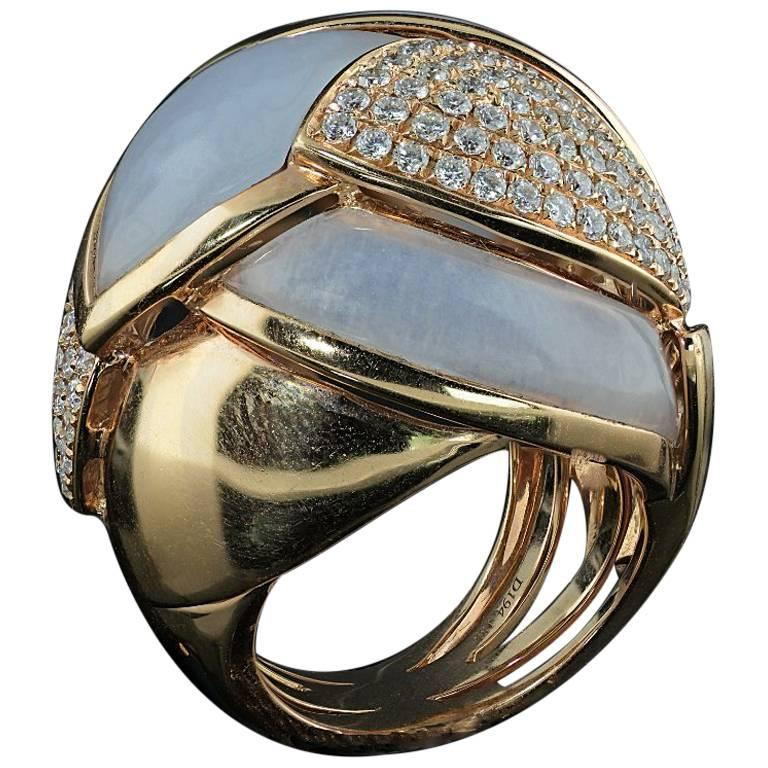 Chalcedony and Diamond Contemporary Cocktail Ring with 1.94 Carat of Diamonds