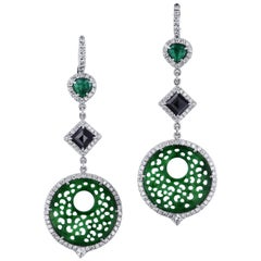 H & H Jadeite and Emerald Modern Dangle Earrings