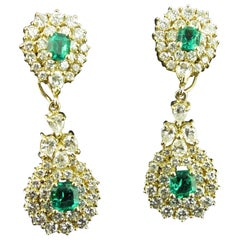 Diamond and Columbian Emerald Drop Earrings Set in 18 Karat Yellow Gold
