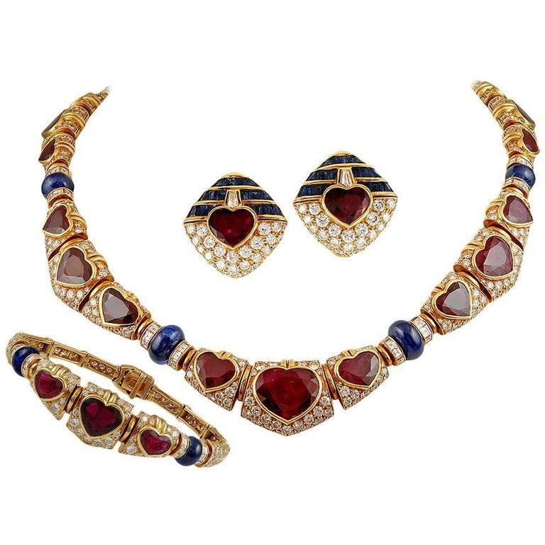 Bulgari Heart Shaped Ruby, Diamond, Sapphire Necklace