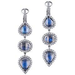 H & H 12.50 Carat Moonstone Dangle Earrings