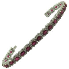 Ruby and Diamond Straight Line Bracelet Set in 18 Karat White Gold