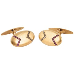 Cufflinks in 18 Karat Gold, Set Rubies and Rose Cut Diamonds, French circa 1890
