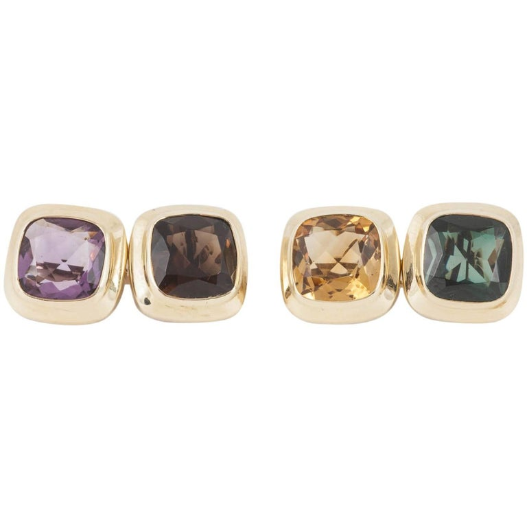 1950s Multi Gem Set Gold Cufflinks