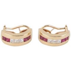Tiffany & Co. 18 Karat Gold, Diamond and Ruby Hoop Earrings