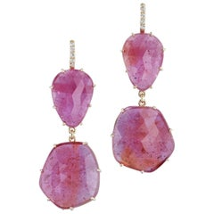 H & H 42.40 Carat Reddish Pink Sapphire Dangle Earrings