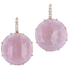 52.52 Carat Pastel Pink Sapphire Slice with Pave Diamonds Lever-Back Earrings