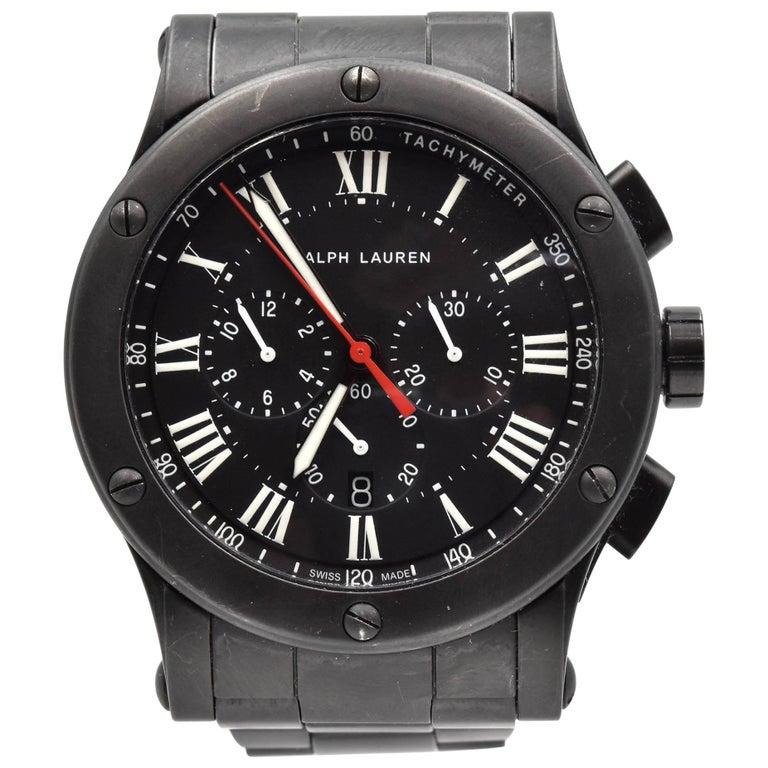Ralph Lauren Black Matte Ceramic Sporting Chronograph automatic Wristwatch  For Sale
