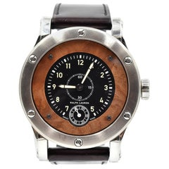 Ralph Lauren Stainless Steel Wood Inlay Automotive automatic Wristwatch