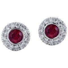 H & H 0.32 Carat Ruby Stud Earrings