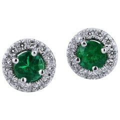 H & H 0.34 Carat Emerald Stud Earrings