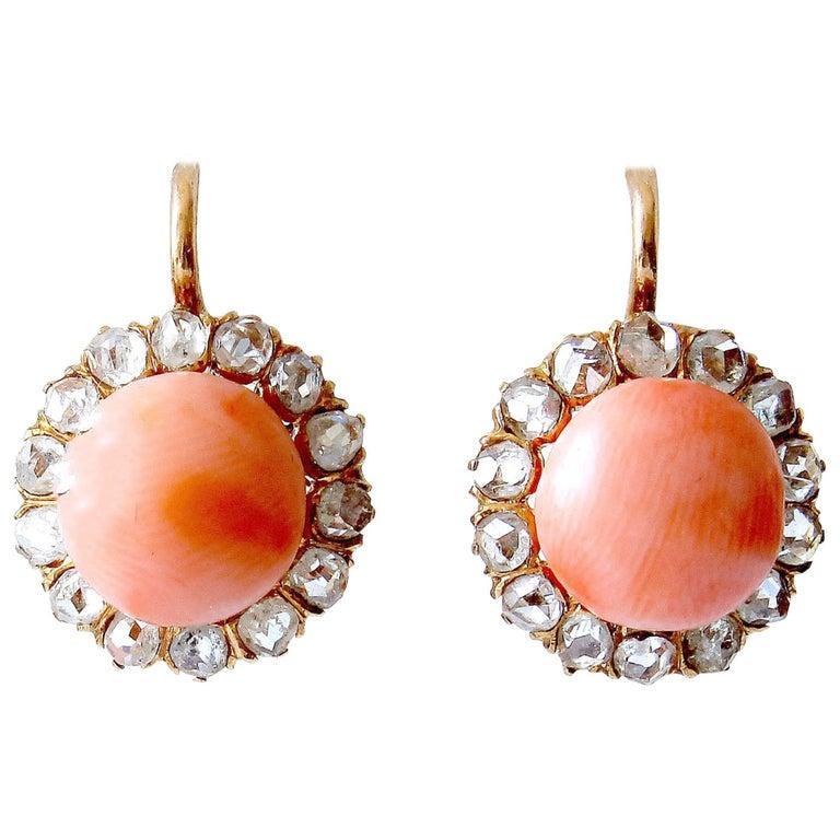 Angel Skin Coral Diamond Gold Cluster Earrings